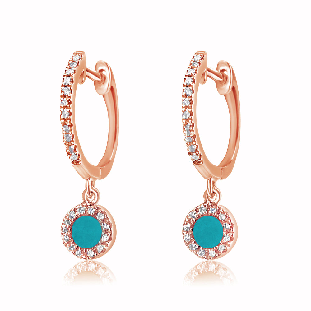 Diamond and Turquoise Disc Huggie Earrings Rose Gold
