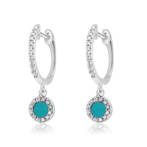 Diamond and Turquoise Disc Huggie Earrings White Gold