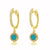 Diamond and Turquoise Disc Huggie Earrings Yellow Gold
