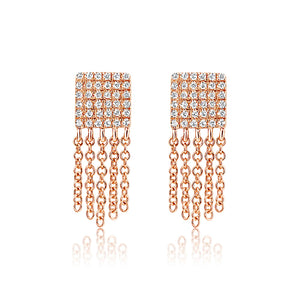 Diamond Square Fringe Earrings Rose Gold