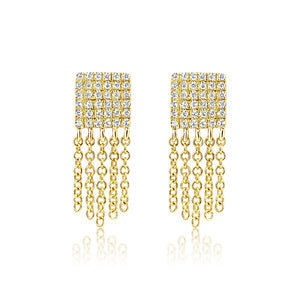 Diamond Square Fringe Earrings Yellow Gold