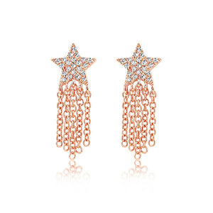 Diamond Star Fringe Earrings Rose Gold