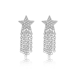 Diamond Star Fringe Earrings White Gold