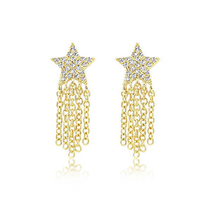 Diamond Star Fringe Earrings Yellow Gold