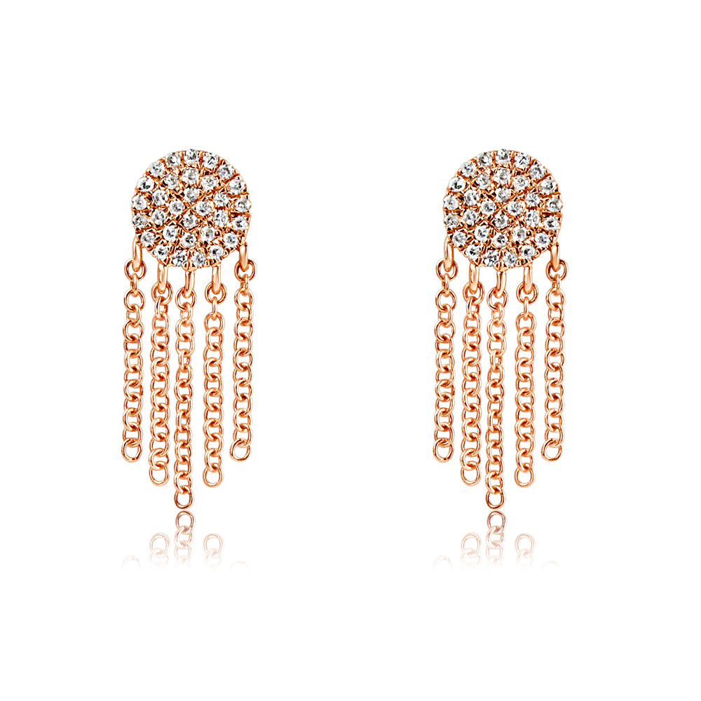 Diamond Disc Fringe Earrings Rose Gold