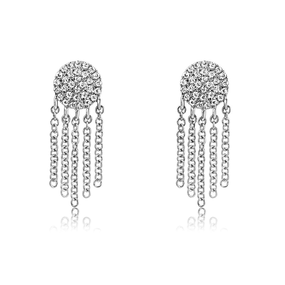 Diamond Disc Fringe Earrings White Gold