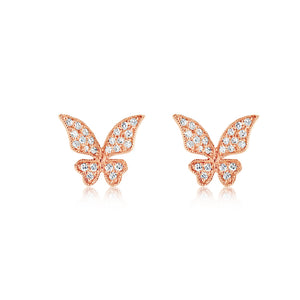 Diamond Butterfly Earrings Rose Gold