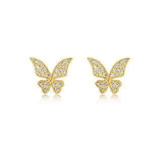 Diamond Butterfly Earrings Yellow Gold
