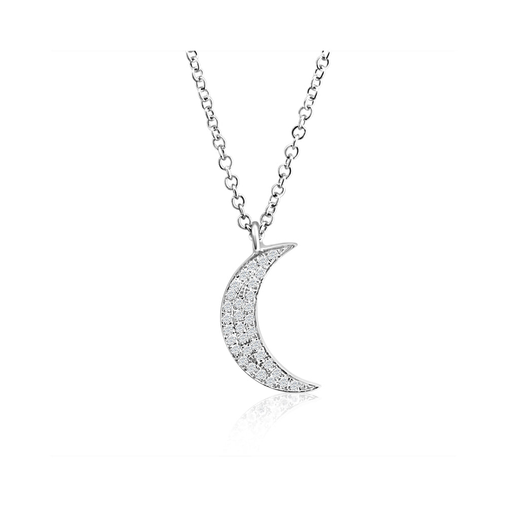Diamond Moon Necklace White Gold