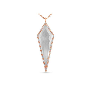 Diamond and Quartz Geometric Necklace Rose Gold