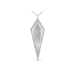 Diamond and Quartz Geometric Necklace White Gold