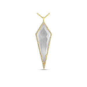 Diamond and Quartz Geometric Necklace Yellow Gold