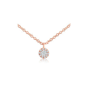 Diamond Halo Necklace Rose Gold