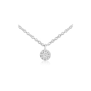 Diamond Halo Necklace White Gold