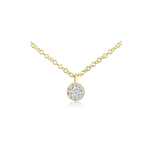 Diamond Halo Necklace Yellow Gold