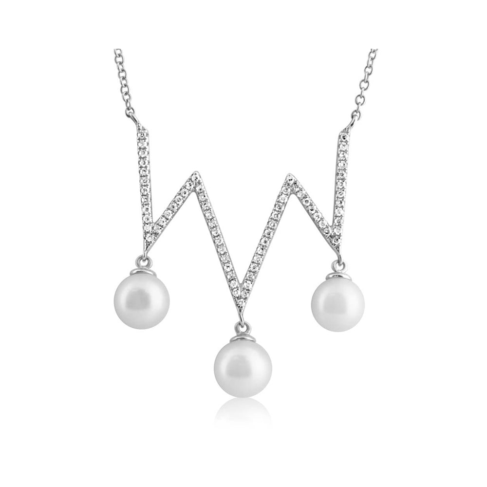 Pearl and Diamond Zig Zag Necklace White Gold