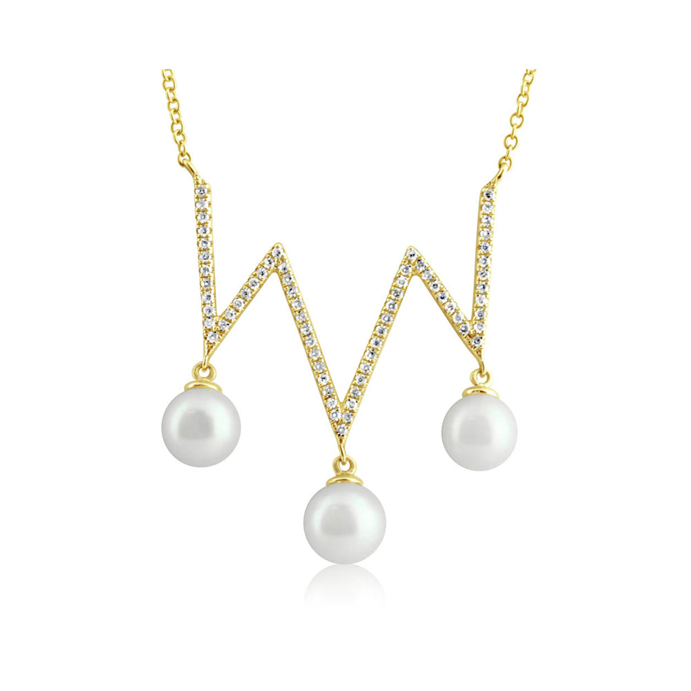 Pearl and Diamond Zig Zag Necklace Yellow Gold