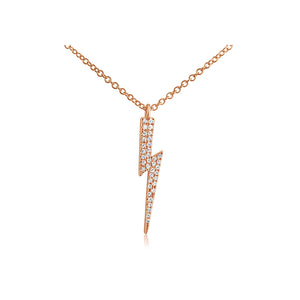 Diamond Lightning Bolt Necklace Rose Gold