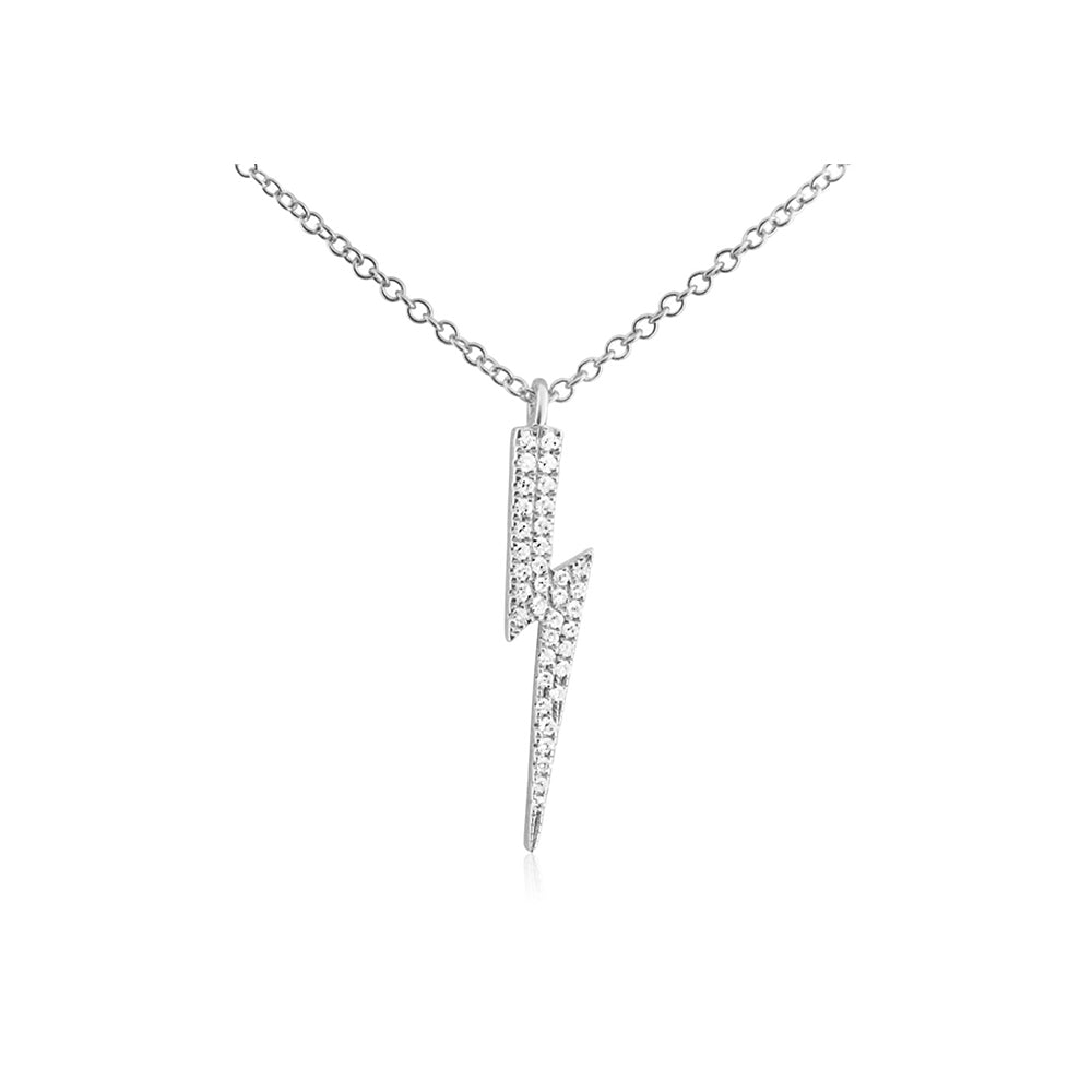 Diamond Lightning Bolt Necklace White Gold