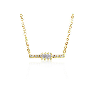 Baguette and Round Diamond Bar Necklace Yellow Gold