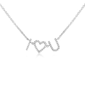 I Heart U Diamond Necklace White Gold