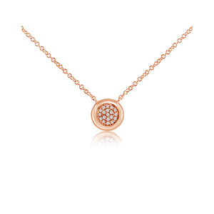 Pave Diamond Ball Necklace Rose Gold