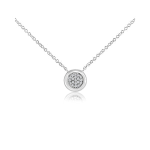 Pave Diamond Ball Necklace White Gold