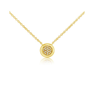 Pave Diamond Ball Necklace Yellow Gold