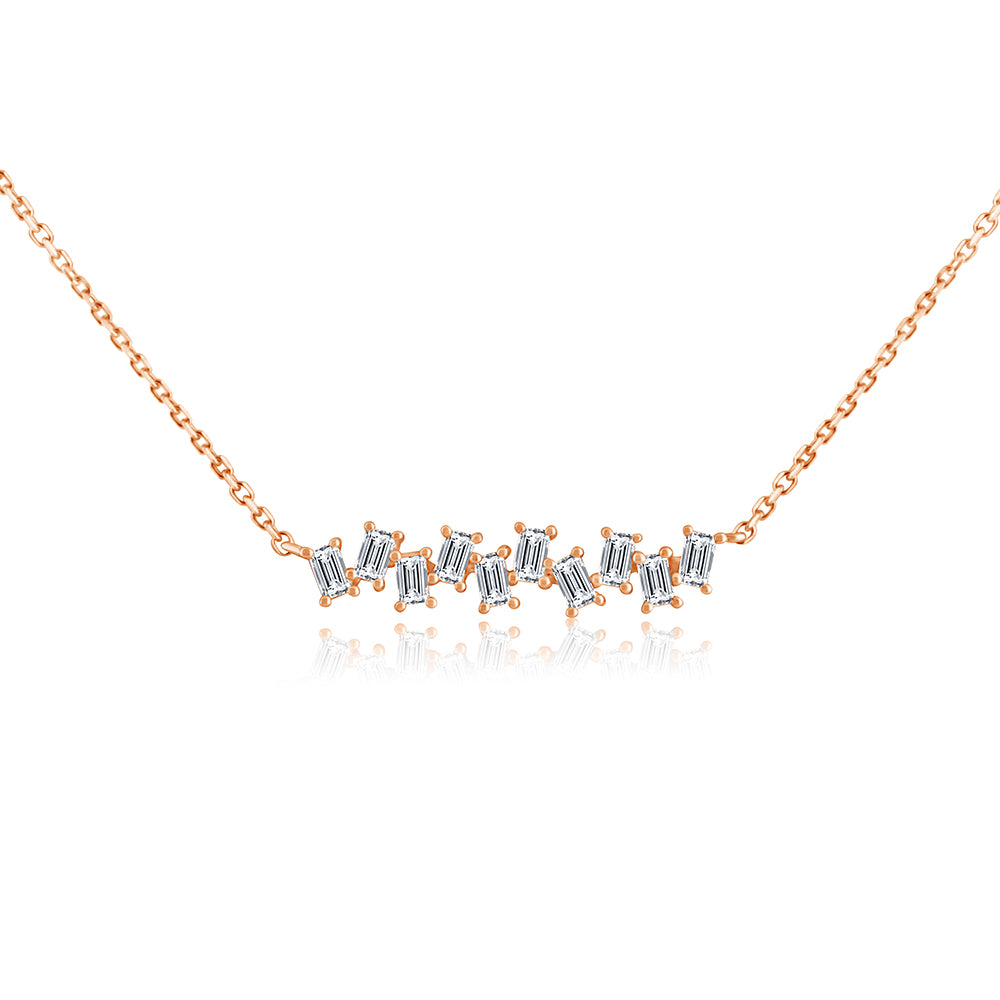 Baguette Diamond Stagger Necklace Rose Gold
