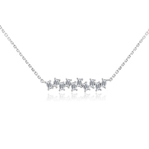 Baguette Diamond Stagger Necklace White Gold