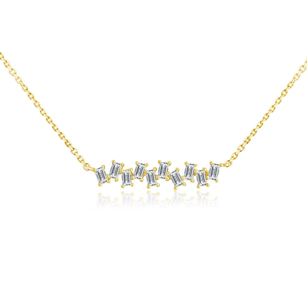 Baguette Diamond Stagger Necklace Yellow Gold