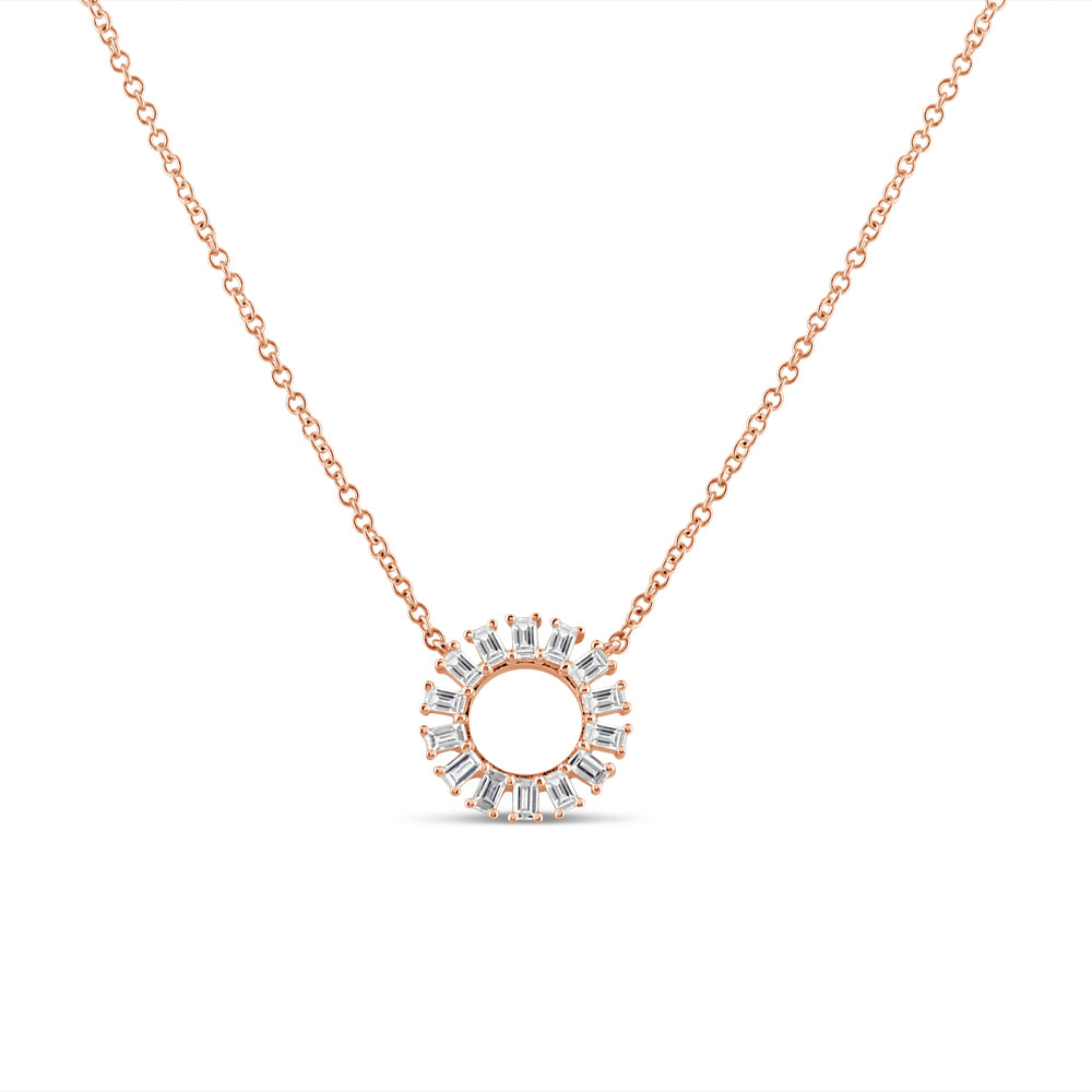 Baguette Diamond Circle Necklace Rose Gold