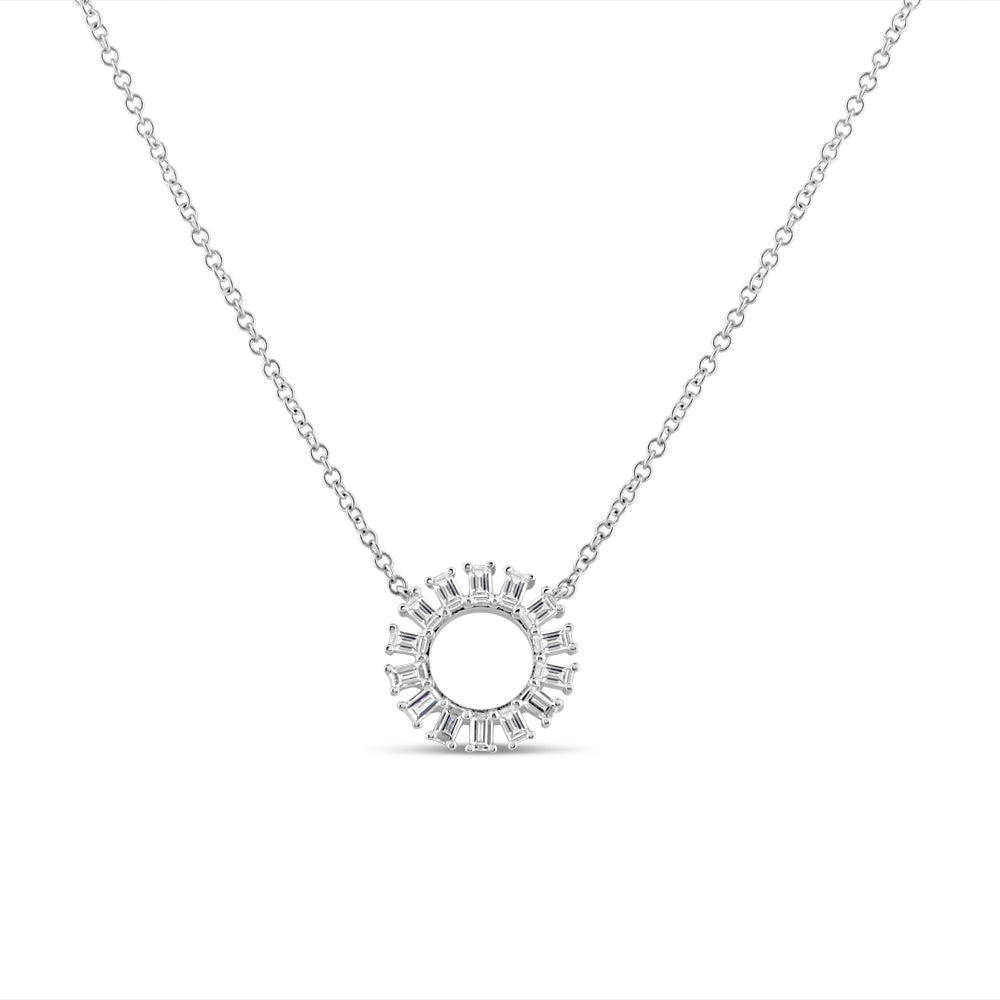 Baguette Diamond Circle Necklace White Gold