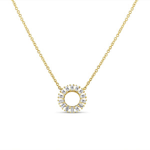 Baguette Diamond Circle Necklace Yellow Gold