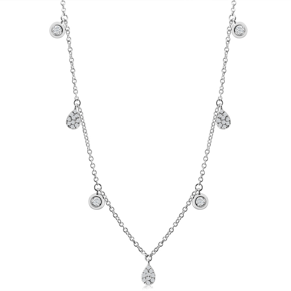 Diamond Drops and Bezel Diamond Necklace White Gold