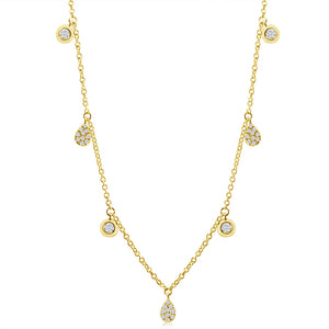 Diamond Drops and Bezel Diamond Necklace Yellow Gold