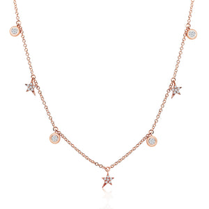 Diamond Shooting Stars and Bezel Diamond Necklace Rose Gold