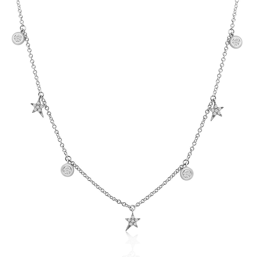 Diamond Shooting Stars and Bezel Diamond Necklace White Gold