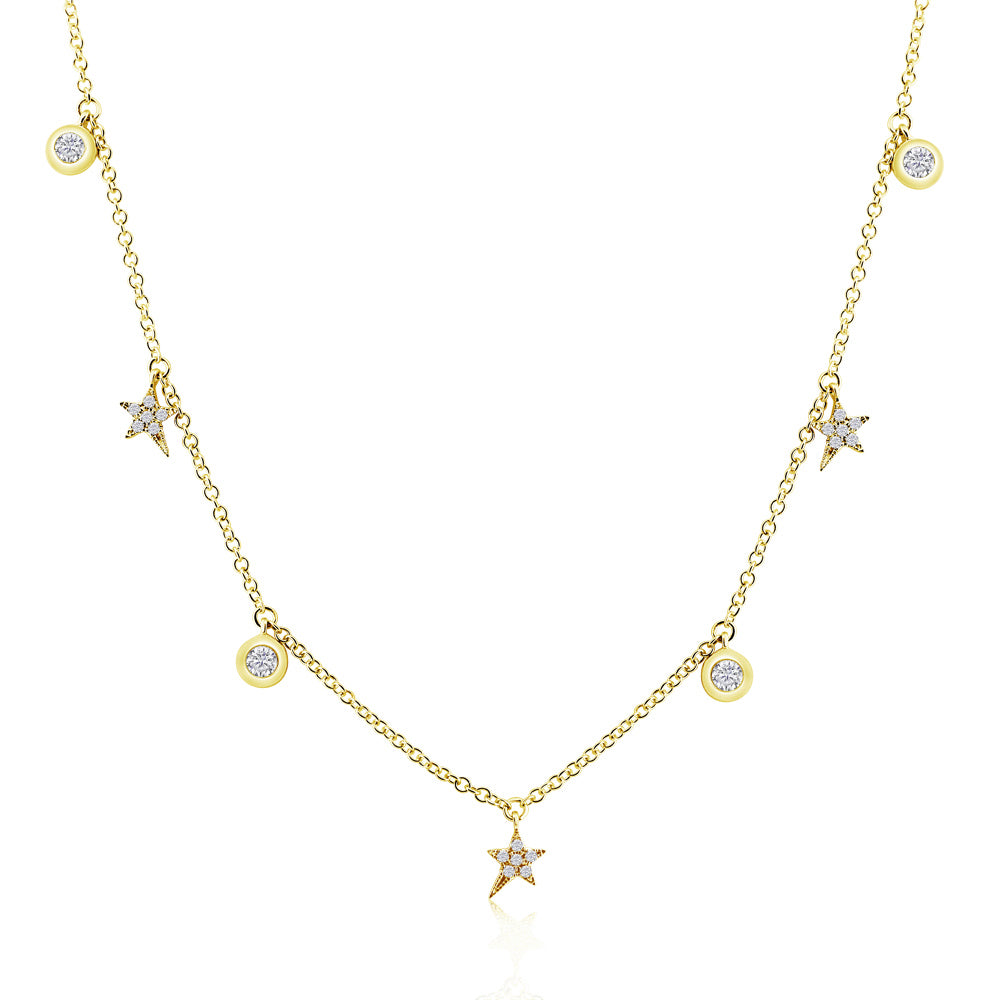 Diamond Shooting Stars and Bezel Diamond Necklace Yellow Gold