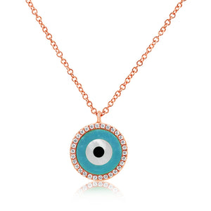 Round Evil Eye Necklace Rose Gold