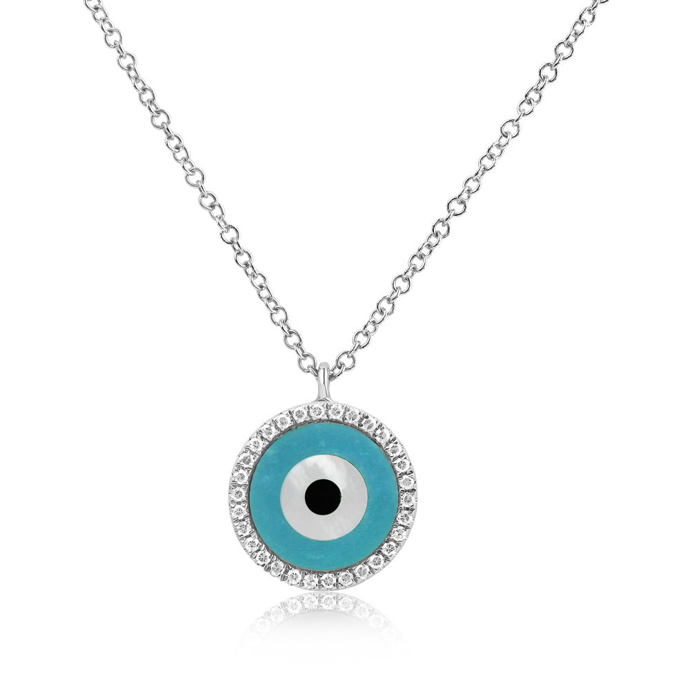 Round Evil Eye Necklace White Gold
