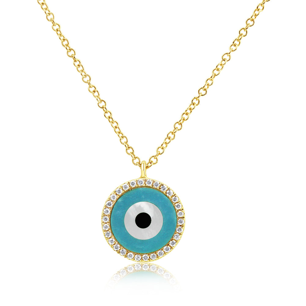 Round Evil Eye Necklace Yellow Gold