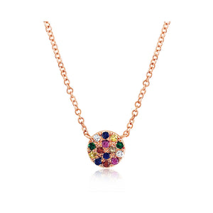 Rainbow Disc Necklace Rose Gold