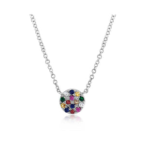 Rainbow Disc Necklace White Gold