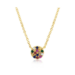 Rainbow Disc Necklace Yellow Gold