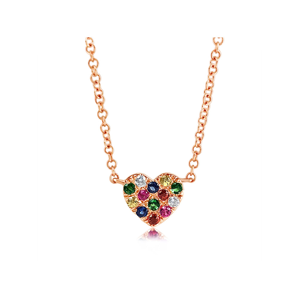Rainbow Heart Necklace Rose Gold