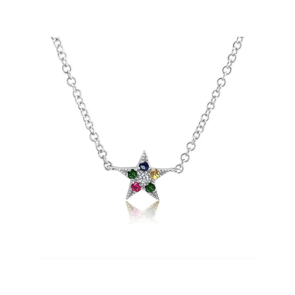 Rainbow Star Necklace White Gold