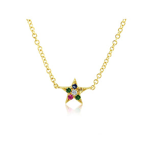 Rainbow Star Necklace Yellow Gold