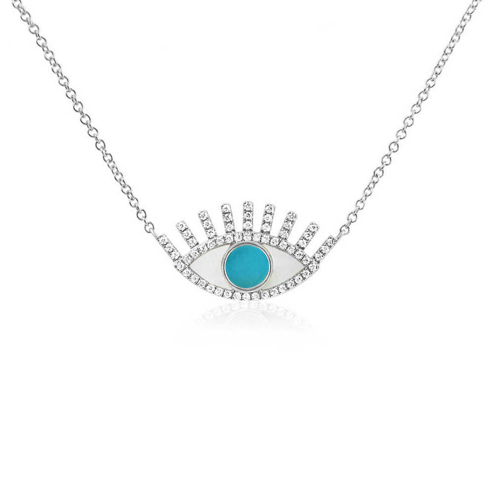 Turquoise Evil Eye Necklace White Gold