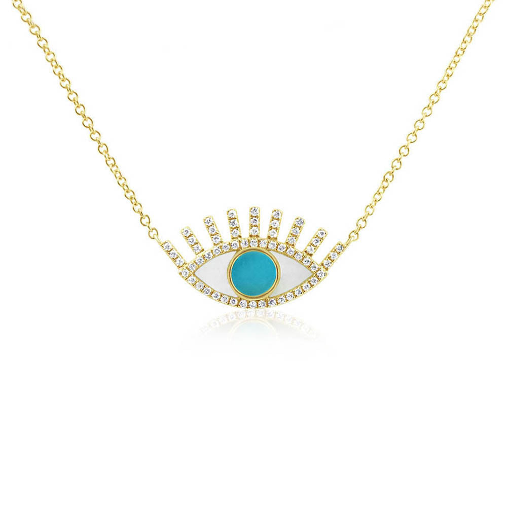 Turquoise Evil Eye Necklace Yellow Gold